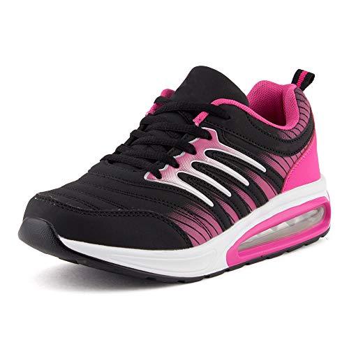 Fusskleidung Damen Herren Sportschuhe Sneaker Dämpfung Neon Laufschuhe Runners Gym Unisex Schwarz Fuchsia EU 38 Fuchsia Leggings