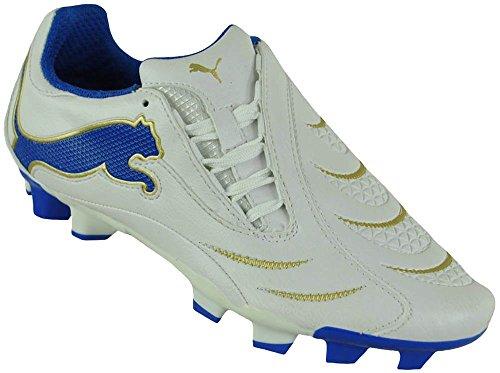 Puma PowerCat 3.10 FG Jr Junior Kinder Jungen Nocken Fußballschuhe Weiß/Blau, Grösse:D/35 - UK/2.5 - US/3.5 - CM/21.5