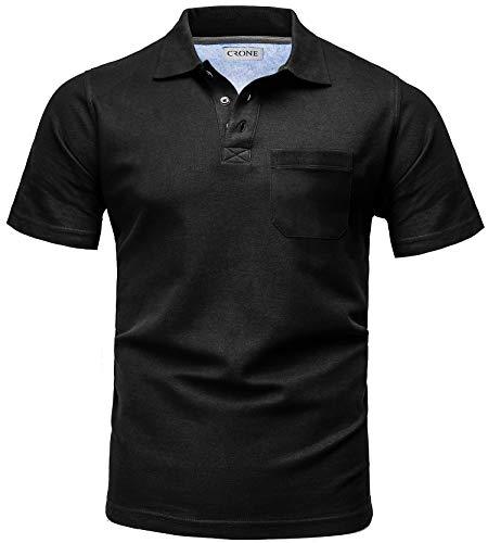 CRONE Basic Herren Pique Poloshirt Regular Fit mit Brusttasche (L, Schwarz) -