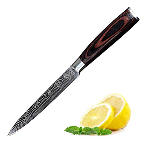 Comtervi Damascuskumesser Küchenmesser Japanisches Kochmesser Sushi Messer 7 Zoll Hohle Schneide Geschmiedetes Messer Edelstahl mit Ergonomischem Griff für Haus und Restaurant