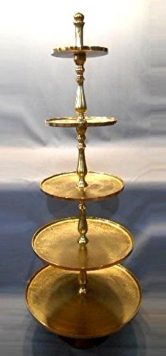 XXL Etagere 170cm Höhe vernickelt Gold Gebäckschale Servierständer Servierplatte