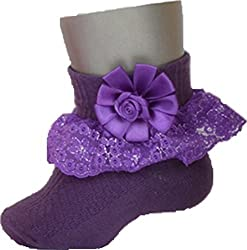 1stbabystore Rosette Baby Girls Frill Socks Pack Of 2 Pink, Purple (0-6months)