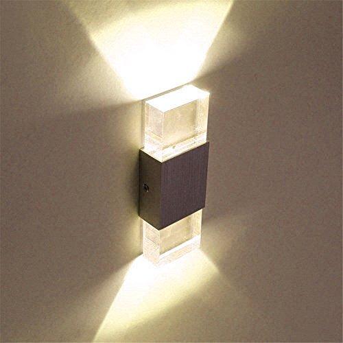 Unimall 6W Illuminazione per Interni Luce Sopra Sotto Lampada da Parete in Alluminio Applique Prate a LED decorativa per Casa Armadio Corridoio Soggiorno Hotel Bianco Caldo
