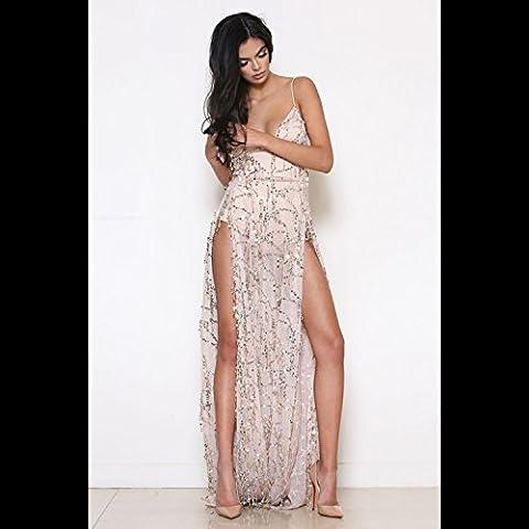 vestito donne maniche Split abito da sera XJoel cinturino laterale lunga notte rosa pastello XL