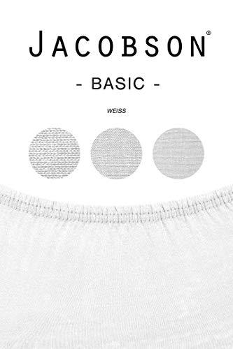 Jacobson Jersey Spannbettlaken Spannbetttuch Baumwolle Bettlaken (60×120-70×140 cm, Weiss) - 3