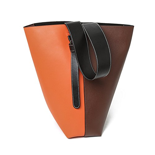 Mefly Spalla Singolo Croce Obliqua In Borsa In Pelle Alla Moda Crash Arancione Marrone Tromba Orange Brown Large