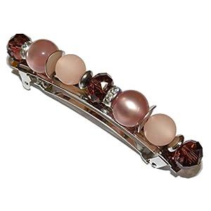 ARTemlos® Handmade Damen-Haarspange aus Metall, Edelstahl und Perlen in violett (g22)