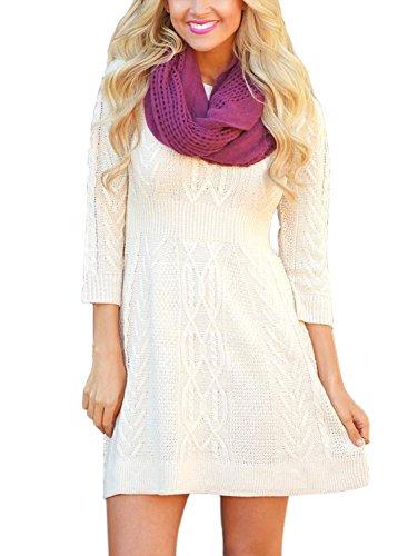 Aleumdr Damen Strickkleid lang Strickpullover 3/4 Arm Mit Zopfmuster A-line Minikleid Weiß Medium