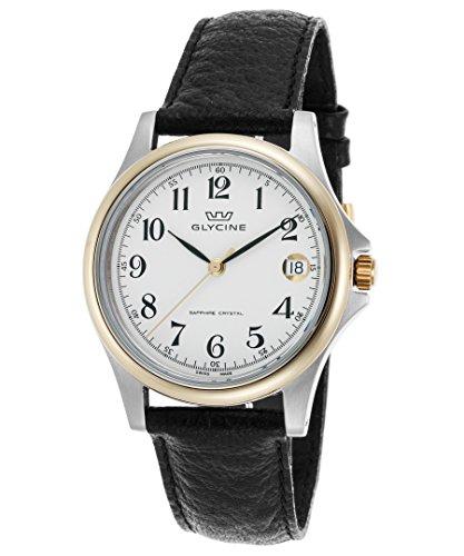 Glycine 3519–34-lb9da uomo in vera pelle nera quadrante bianco oro lunetta orologio