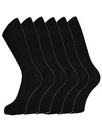 Aler - 6 Paires Chaussettes Homme Noir Coton Majoritaire Habillé Lycra EU 39-45