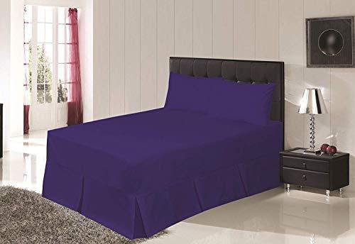 Drap-housse Bemode facile d'entretien – Tour de lit avec cantonnière plissée – En polycoton uni de très bonne qualité, bleu marine, 190 x 90 x 40 cm