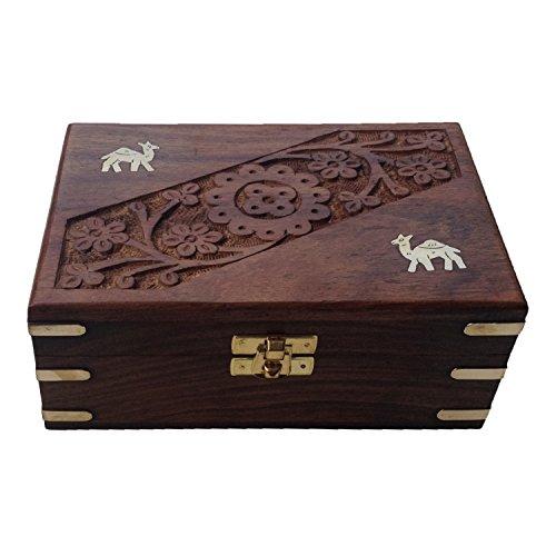 Zeitgenössische Holz-schmuck-kästen (Royal Kraft Handgeschnitzt Zeitgenössisch Messing Gravierte Rechteckig Holz Schmuck Boxen)
