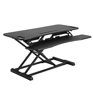 SONGMICS Sitz-Steh-Schreibtisch, höhenverstellbarer Aufsatz Laptop-Ständer Monitorständer, Sitz-Steh-Arbeitsplatz für Computer, Laptop und Bürobedarf, mit Abnehmbarer Tastaturablage, Schwarz LSD06BK