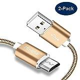 Hunletai USB auf Micro USB Kabel Metall Geflochten Mikro USB Ladekabel Goud 1m 2Stk