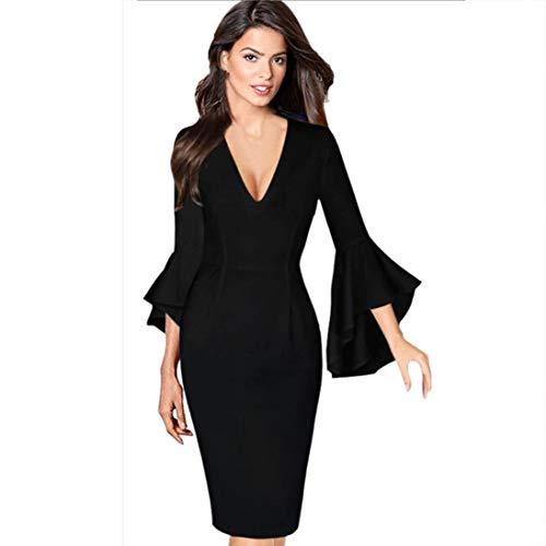 08218d324 OverDose mujer Sexy Profunda con Cuello En V Llama Campana Vestido De.