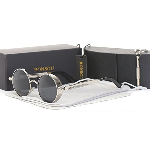 RONSOU Steampunk Estilo Redondo Vintage Polarizadas Gafas de Sol Retro