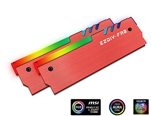 EZDIY-FAB ARGB RAM Kühler RGB DDR Speicher Kühlkörper Kühlweste Fin Strahlung für DIY PC DDR3 DDR4 (kompatibel mit ASUS Aura Sync,GIGABYTE RGB Fusion und MSI Mystic Light Sync) Rot-2 Pack -