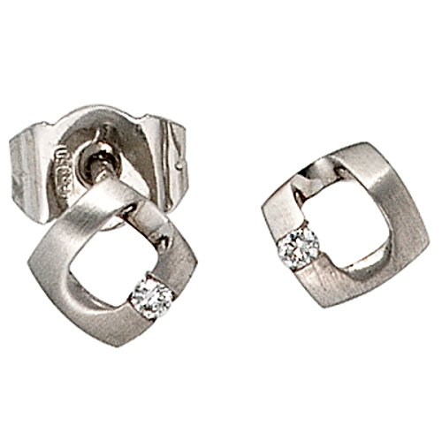 JOBO Ohrstecker 950 Platin teilmattiert 2 Diamant-Brillanten 0,03ct. Ohrringe