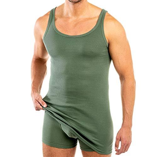 HERMKO 3007 extralanges Herren Unterhemd (+10 cm) Tank Top aus 100{32980c9e6957150da73bf132f13a3a7e033bfe6b1bf7a760e943c775d5c99f03} Baumwolle Größe 4-12, Größe:D 10 = EU 4XL, Farbe:Olive