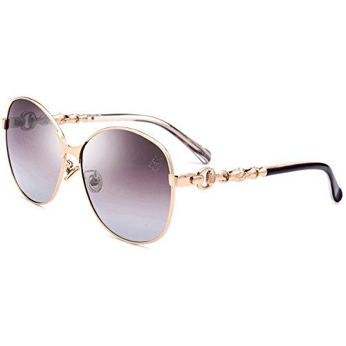 HEPIDEM Acetat Sonnenbrille Metall Frauen polarisierte Sonne Brille für Frauen 9220, Braun