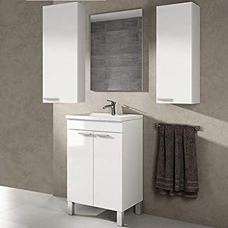 Mueble con Espejo de Baño + Lavabo + Espejo con GRIFERÍA de Calidad (Columnas Suspendidas Incluidas)