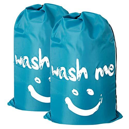 Lenbicki - confezione da 2 grandi borse portabiancheria in nylon da viaggio, con chiusura a cordoncino, lavabili in lavatrice, resistenti agli strappi, per campeggio, casa, 61 x 91 cm