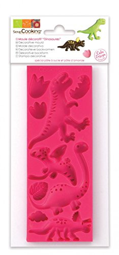 Scrapcooking 3449 Dinosaures Moule Pâte Silicone Rose 21,7 x 9,5 x 0,8 cm