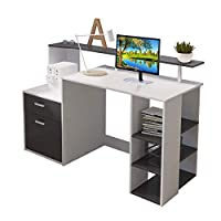 Outwin Corner Desk Folding Wood Computer Desk with Drawers/Shelves Storage, Modern Home Office Study Gaming Table PC Laptop Workstation(White & Black)