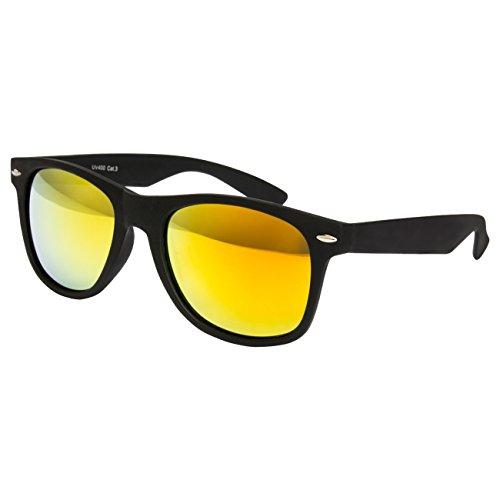 Ciffre EL-Sunprotect® Sonnenbrille Nerdbrille Brille Nerd Matt Gummiert Schwarz Feuer Matt Verspiegelt UV400