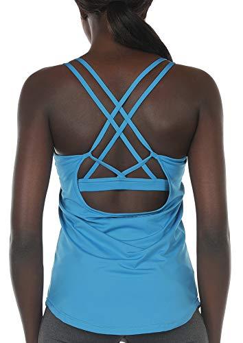 icyzone Damen Sport Yoga Tank Top mit Integriertem BH – 2 in 1 Sport Oberteile Fitness Gym Shirts