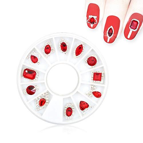 PAWACA Cristaux Strass 3D Strass Ongles Nail Art Gemmes et Strass Décoration Roue Ronde Grand Cristal AB Accessoire Nail Art Diamonds Outils de Manucure Acrylique Rouge