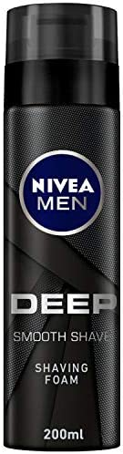 NIVEA MEN DEEP Smooth Shave Shaving Foam, Antibacterial Black Carbon, 200ml
