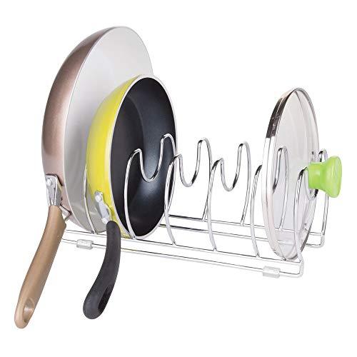 mDesign Organizador de sartenes y tapaderas - Soporte de Metal Cromado con 6 Compartimentos para sartenes y Tapas de ollas - Organizador de cajones y armarios de Cocina
