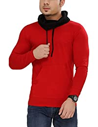 Tees Collection Men's Cotton Full Sleeve Red Color Hooded T-Shirt