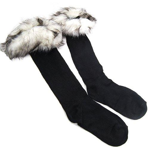 TOOGOO(R) Frauen Damen Stiefel Socken Fleece Liner faux-pelz-Socken Bein Strumpf-Pelz-Manschette - Whites