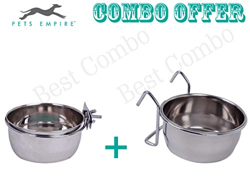 Pets Empire Stainless Steel Birds Coop Cup Feeder Bowl with Clamp Holder, 850 ml and Stainless Steel Birds Coop Cup Feeder Bowl with Hook Holder, 850 ml