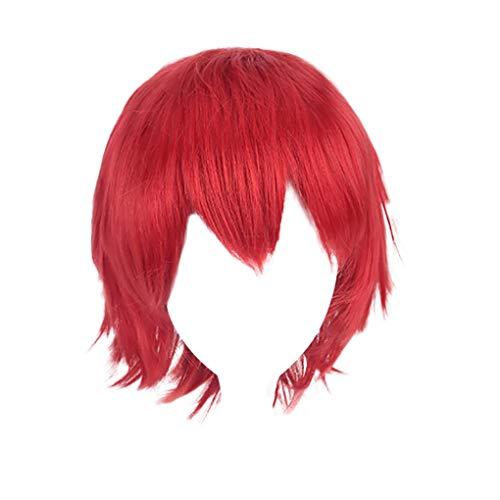 Damenperücken/Dorical Unisex Haar Wigs Anime Kurz Perücke/Herren Kurz Haarteile für Karneval Fasching Cosplay Party Kostüm für Verschiedene Hautfarben(Rot)