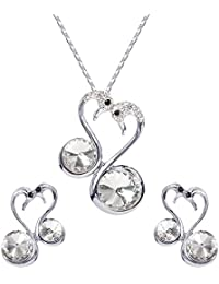 YouBella Jewellery Stylish Crystal Peacock Pendant Set / Necklace Set With Earrings For Women/Girls
