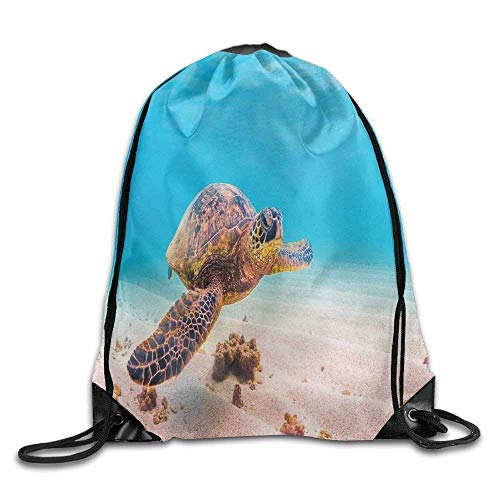 Etryrt Prämie Turnbeutel/Sportbeutel, Hawaiian Green Sea Turtle Cruises In Warm Waters of The Pacific Ocean Photo Drawstring Gym Sack Sport Bag for Men and Women