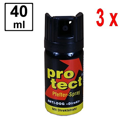 3 x PROTECT Pfefferspray Anti-Dog zur Abwehr von Tieren - 40 ml - Direktstrahl -