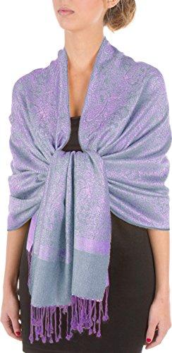 Sakkas Paisley Selbst-Design Schal/Wrap/Stole - Stahl Blau/Lila Paisley (Stahl Blau Kleid)