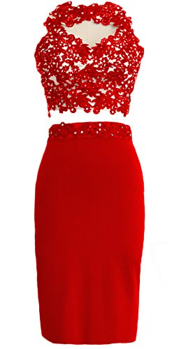 MACloth Gorgeous 2 Piece Jersey Cocktail Dress Short Prom Homecoming Formal Gown red