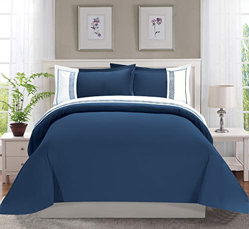 Elegant Comfort Luxury Super-Soft Coziest 1500 Thread Count Egyptian Quality 3-Piece Greek Embroidered Duvet Cover Set, (Insert Comforter Protector) Wrinkle-Free, Full/Queen, Navy Blue/White