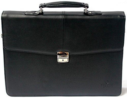 Maletn-para-porttil-de-16-de-estilo-ejecutivo-Con-correa-bandolera-Cuero-de-poliuretano-Negro