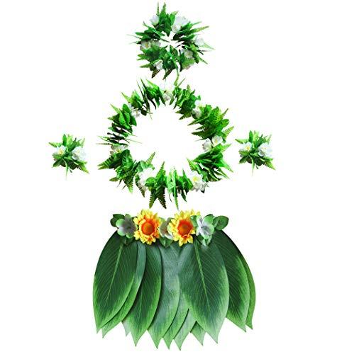 Fortuning's JDS Erwachsene Plus Größe hawaiisch Sonnenblumen Armbänder Grüner Rand Blatt Hula Rock Kostüm(5Pcs)