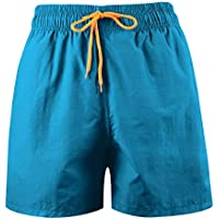 LEIDAI Men's Beach Shorts Loose Quick Dry Swim Trunks Drawstring Summer Short Pants for Men Boys (1#, L)