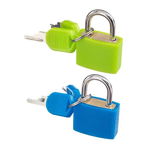 2er-Set Kleines Gepäckschloss Reiseschloss Kofferschloss mit Schlüsseln Vorhängeschloss Schloss für Gepäck Koffer Truhe Tasche, Grün und Blau (Türschloss Für Taschen-tür)