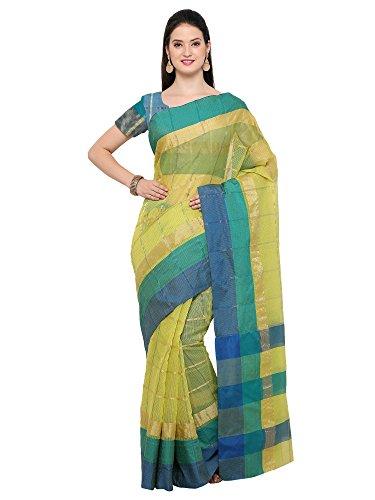 AppleCreation Women's Linen Saree With Blouse Piece (sarees new collection 2LNN213_Green)