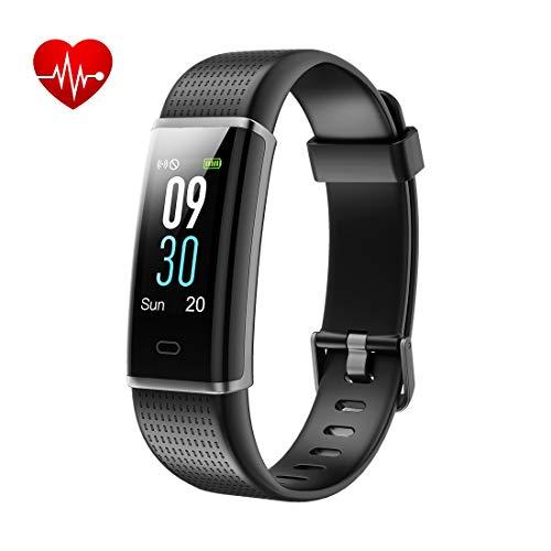 Yuanguo Fitness Armband mit Pulsmesser Fitness Tracker Wasserdicht IP68 Armbanduhr Aktivitätstracker Schrittzähler Kalorienzähler Schlafmonitor 14 Trainingsmodi für Damen Herrn Kinder