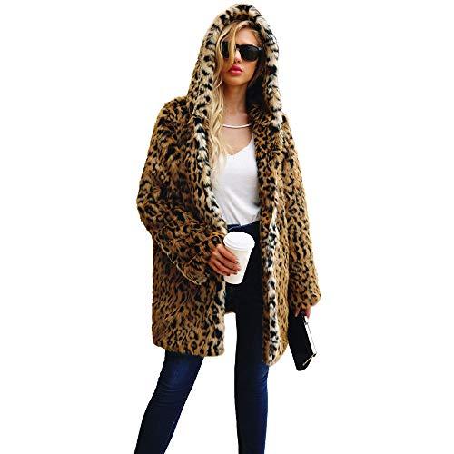 Luoluoluo cappotti donna invernali - donna cappotto di pelliccia sintetica giacca invernale con cappuccio parka antivento giubbino - cappotto invernale da donna - leopardato (s)